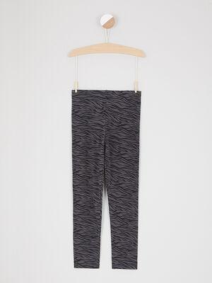 Legging a motif zebre gris fonce fille