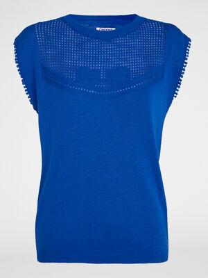 Pull coton plastron ajoure bleu roi femme
