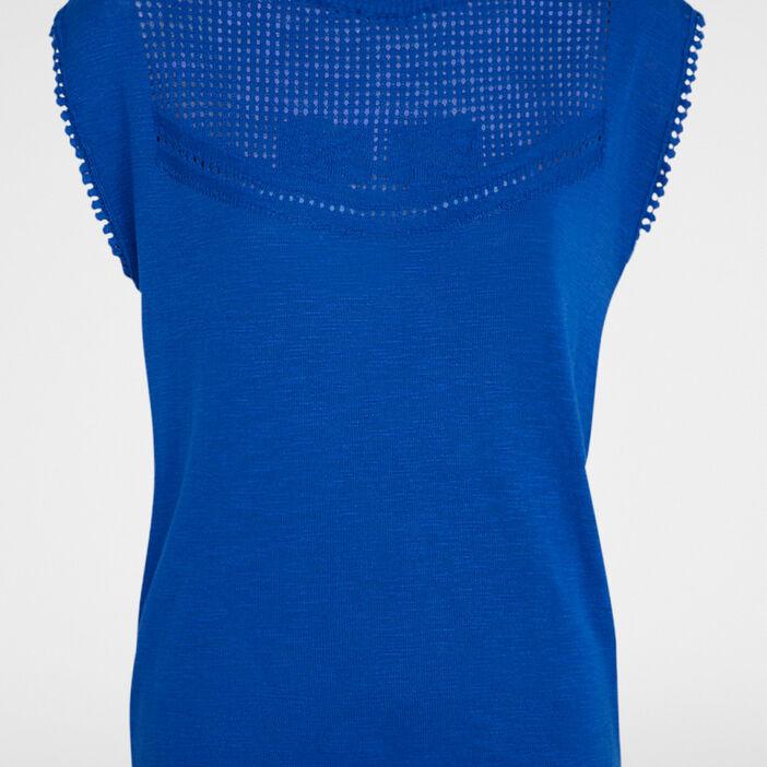 Pull coton plastron ajouré femme bleu roi