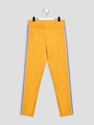 Pantalon jogging avec bandes jaune moutarde fille