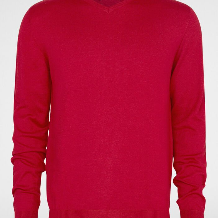 Pull maille jersey col V homme rouge