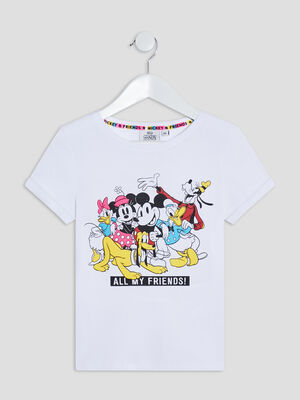 T shirt Mickey Mouse blanc fille