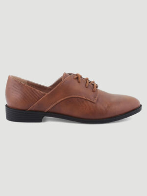 Derbies aspect python marron femme