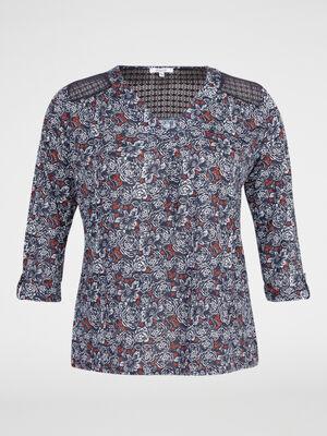 T shirt imprime avec dentelle fantaisie bleu marine femme