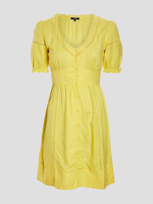 Robe droite boutonnee jaune femme