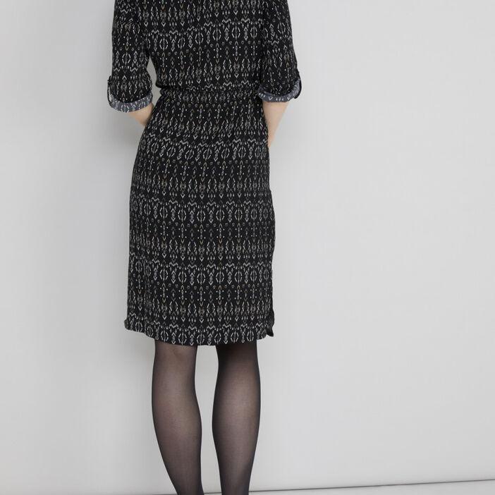 Robe imprimée coupe droite femme noir