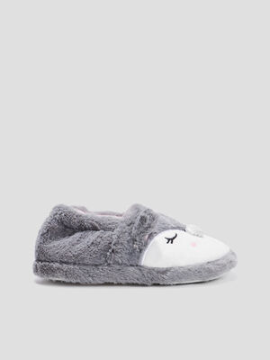 Chaussons fausse fourrure gris fille