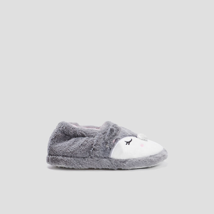 Chaussons fausse fourrure fille gris