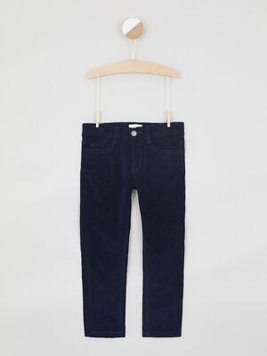 Pantalon slim en velours bleu marine garcon