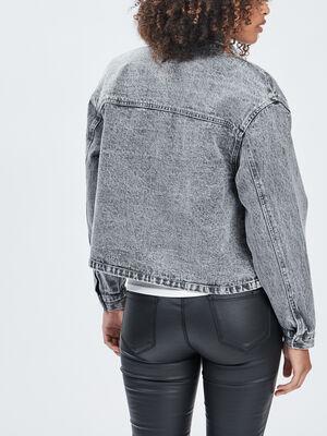 Veste droite en jean Liberto noir femme
