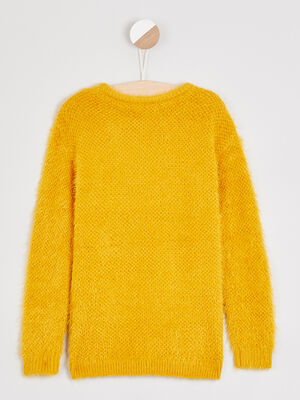 Pull col rond maille ajouree jaune fille