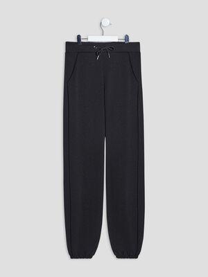 Pantalon droit bas elastique noir fille