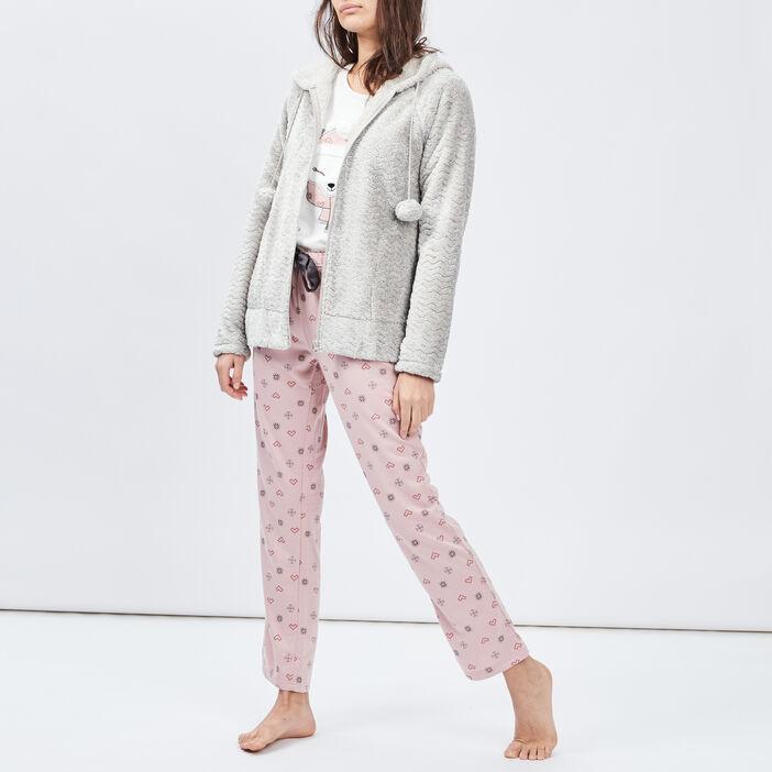 Veste de pyjama à capuche femme gris