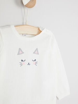 Pull col rond lapin brode ecru fille