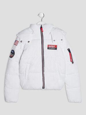 Doudoune a capuche NASA blanc fille