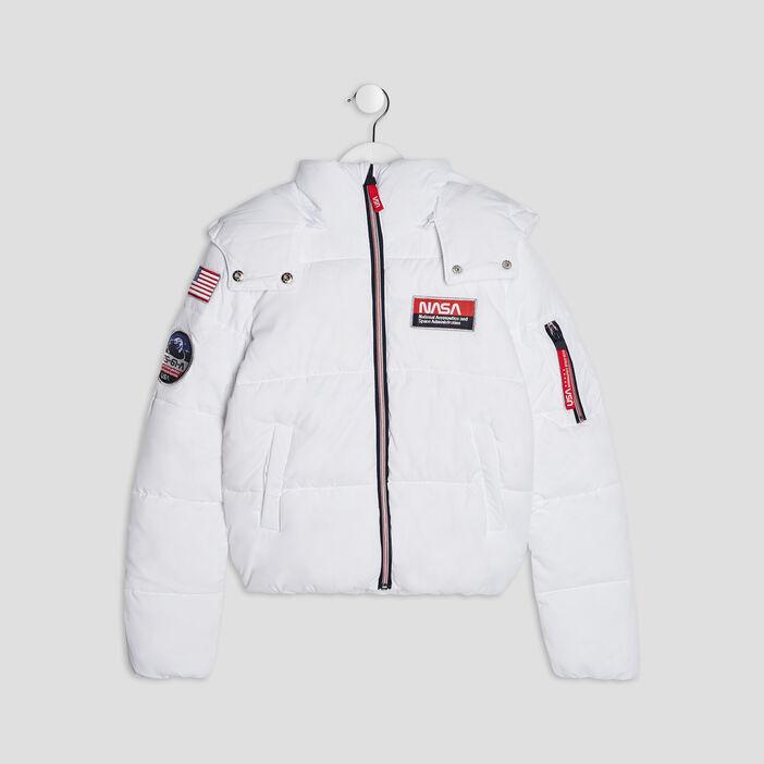 Doudoune à capuche NASA fille blanc