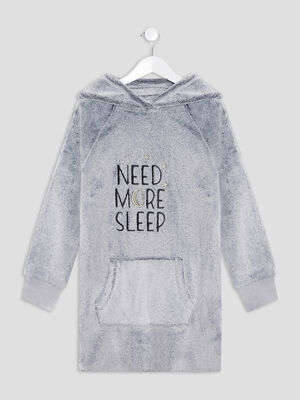 Chemise de nuit a capuche gris fille