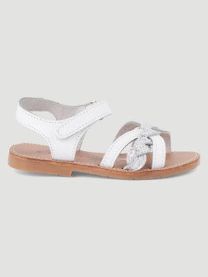 Sandales cuir blanc fille