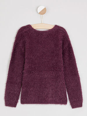 Pull col rond maille ajouree bordeaux fille