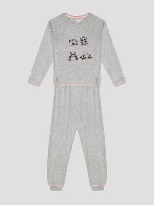 Pyjama corsaire acidule gris fille