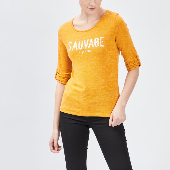 Pull manches 3/4 femme jaune moutarde