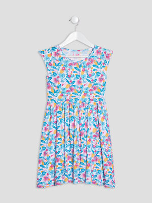 Robe evasee a manches courtes multicolore fille