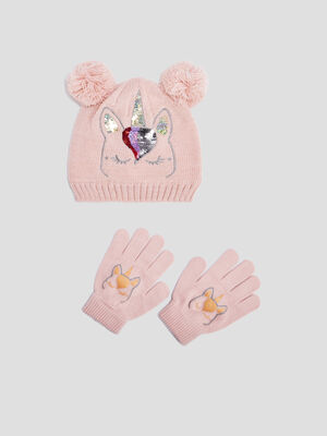 Lot bonnet et gants rose fille