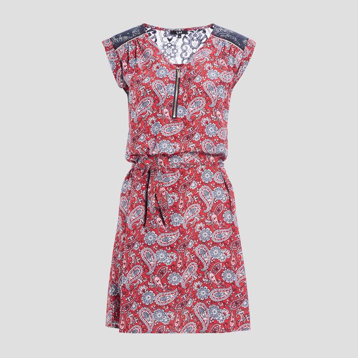 Robe droite ceinturée femme rose framboise