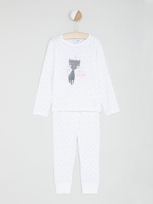 Pyjama 2 pieces motif chats blanc fille