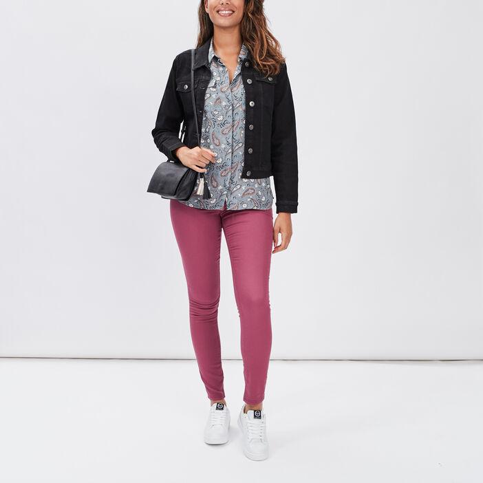 Veste droite en jean femme denim noir