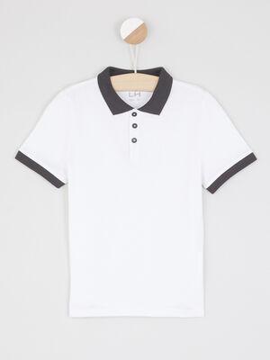 Polo bicolore boutons contrastes blanc garcon
