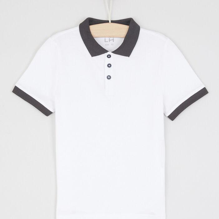Polo bicolore boutons contrastés garçon blanc