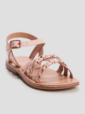 Sandales en cuir rose fille