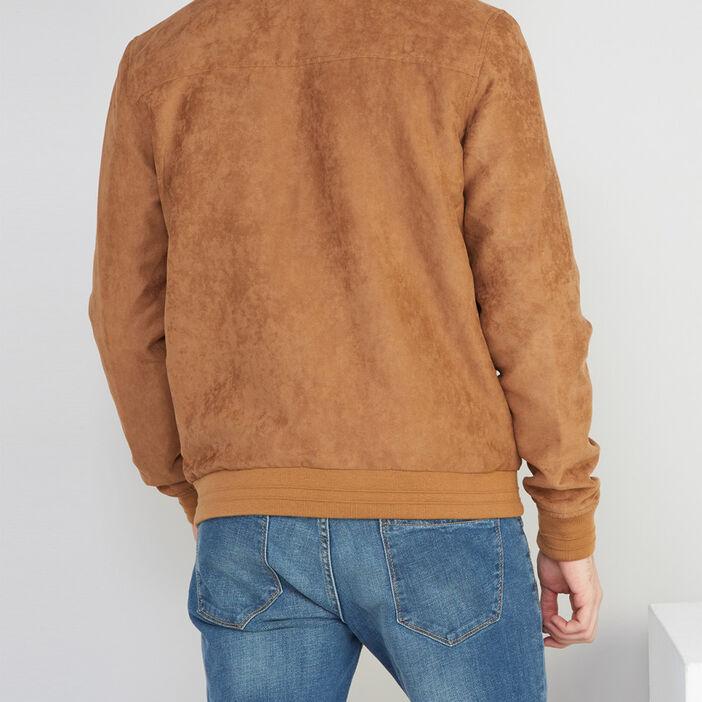 Veste droite nubuck col montant homme camel