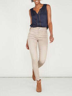 Pantalon uni coupe slim beige femme