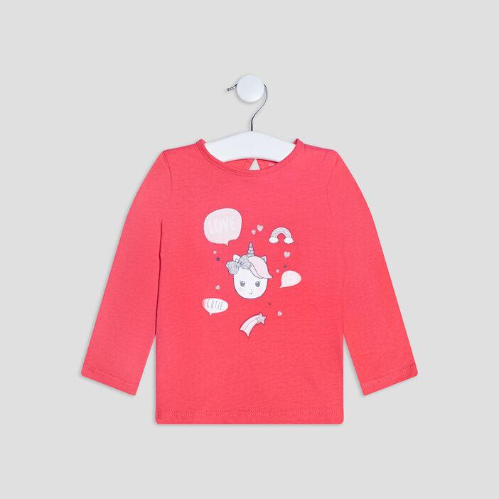 T-shirt manches longues bébé fille rose fushia
