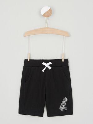 Bermuda chine taille elastiquee coton noir garcon