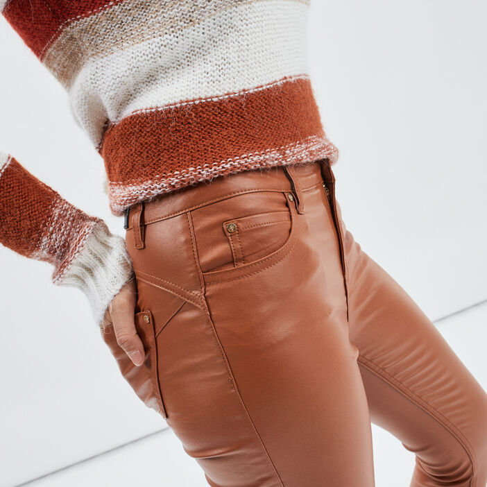 Pantalon enduit skinny push up femme beige