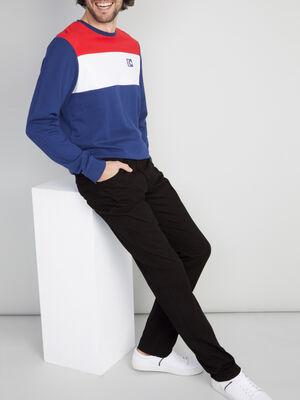 Pantalon regular coton uni noir homme