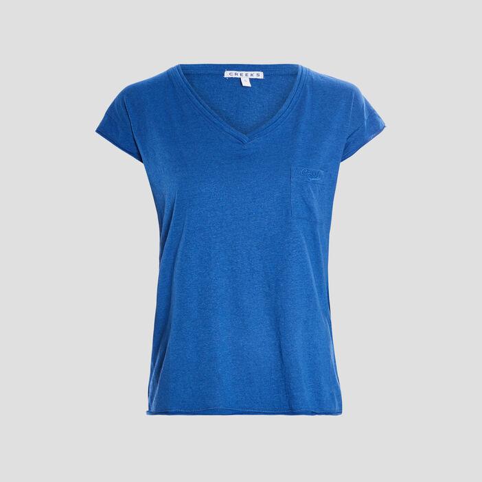 T-shirt manches courtes Creeks femme bleu roi