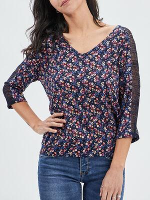 T shirt manches 34 multicolore femme