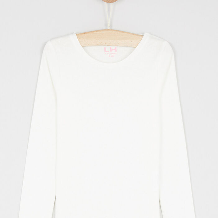 T-shirt uni en coton fille ecru