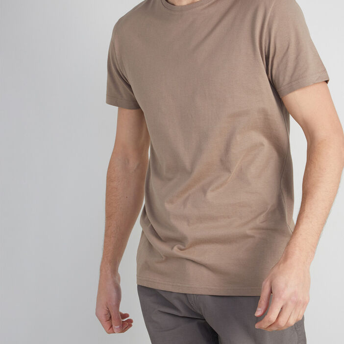 T-shirt col rond uni homme taupe