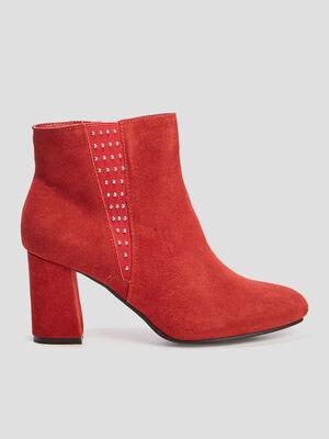 Boots a talon avec studs rouge femme