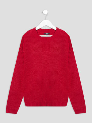 Pull avec col rond rouge fille