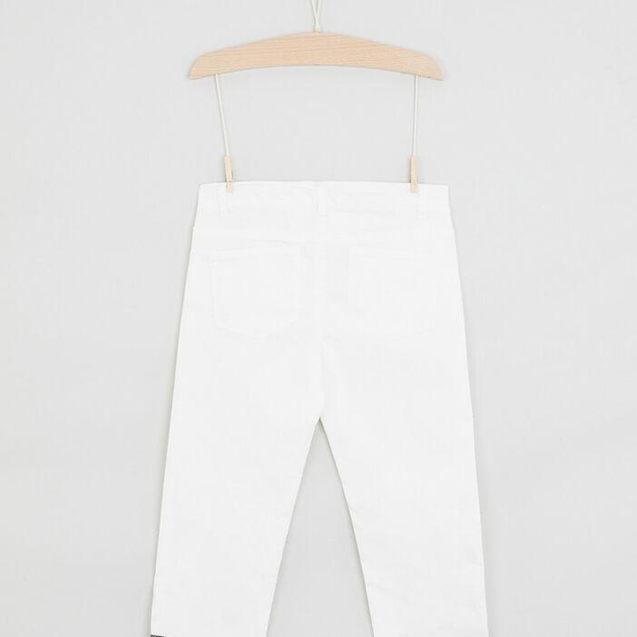 Pantalon skinny bas fantaisie fille ecru