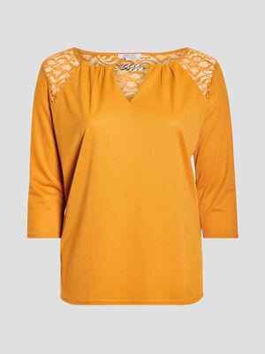 T shirt manches 34 jaune moutarde femmegt