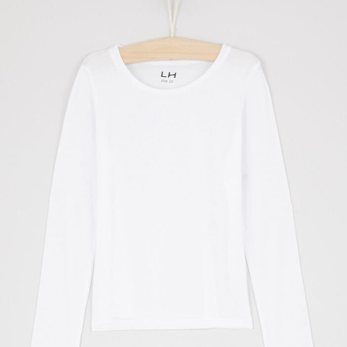 T-shirt uni col rond fille blanc