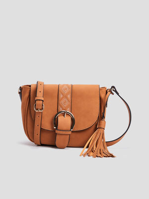 Sac besace a pampille camel femme