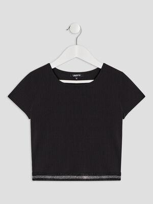 T shirt cotele Liberto noir fille